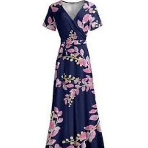 Lily Navy & Rose Floral Wrap Maxi Dress
